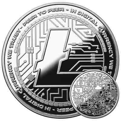 Litecoin Crypto Icon  1 Oz Pure Silver Proof Round Coin Anonymous Mint