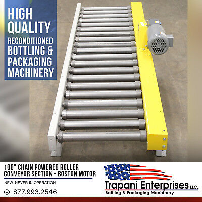 """*NEW*  100"""" Chain Powered Roller Conveyor Section,Bottling,Packaging,Warehouse"""