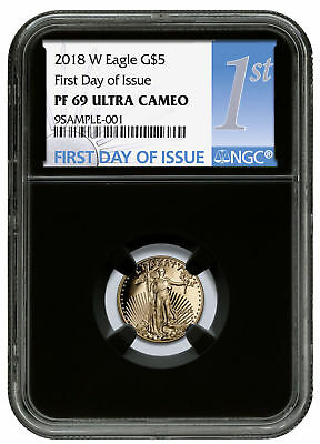 2018-W 1/10 oz Gold American Eagle Proof $5 NGC PF69 UC FDI Black SKU53207