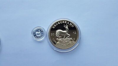 2012 1oz Gold South Africa Krugerrand. EP.and x1 999 silver 1 gram coin.