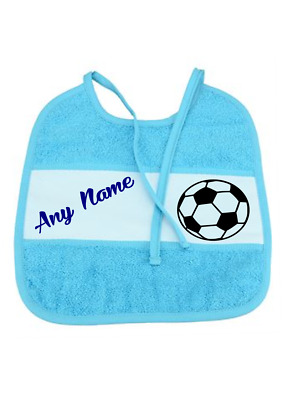 Gift  Embroidery personalised baby bib Any Named, for boys, blue or pink