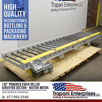 """*NEW* 132"""" Powered Chain Roller Conveyor Section, Boston .5 HP 3 Phase 220/460V"""