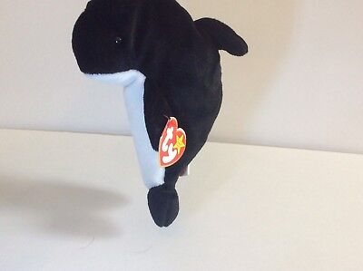 Ty Beanie Baby Waves Orca Killer Whale B/W Bear Babies Retired Collectible