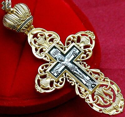"""Big Russian Orthodox Cross. Imperial Crown. Silver925+Gold24K. New. Prayer. 2.5"""""""
