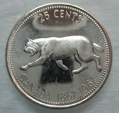 1967 Canada 25 Cents Brilliant Uncirculated Silver Quarter Coin