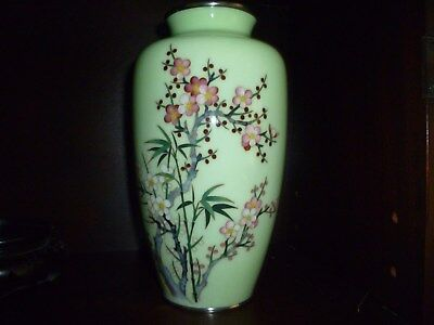 Japanese Silver Wire Cloisonne Vase w/Stand