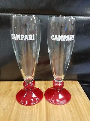COLLECTIBLE CAMPARI Logo Set of 2 Fluted  Glasses with Red Footed bases