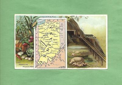 HISTORIC SCENES FROM INDIANA, MAP On ARBUCKLE COFFEE #90 Victorian Trade Card