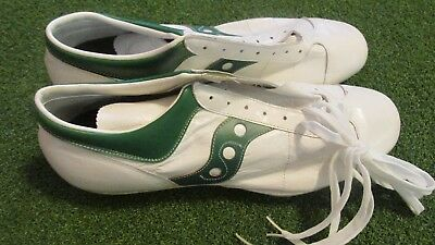 1970s NOS SPOT BILT WHITE LEATHER FOOTBALL SHOES CLEATS DEADSTOCK RARE U.S.A.