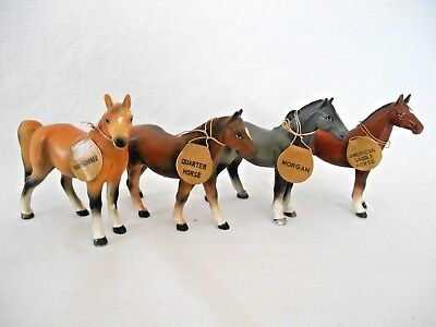 4 Vintage Japan CERAMIC HORSE FIGURINES w/ HANG TAGS of BREED