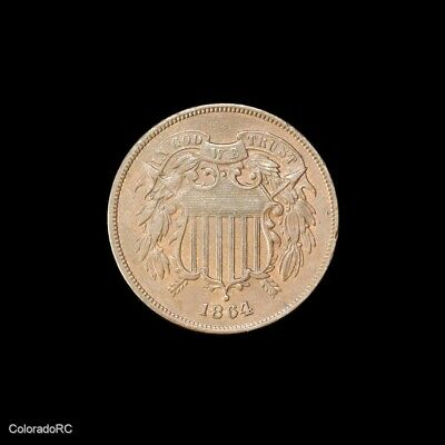 1864 U.S. Mint 2C Two Cent Coin, Large Motto, in AU Condition