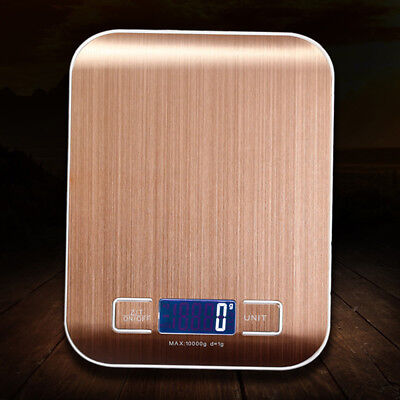 Gold 10kg Electronic Stainless Steel Digital Kitchen Cooking Food Weighing Scale