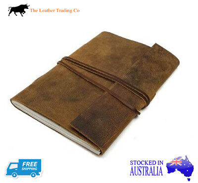 A4+ Leather Journal - Buffalo Hide w handmade cotton Paper - Wrap around string