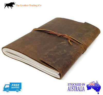 A4+ Leather Sketchbook - Buffalo Hide Cover w Wrap-around string - Sketch Paper