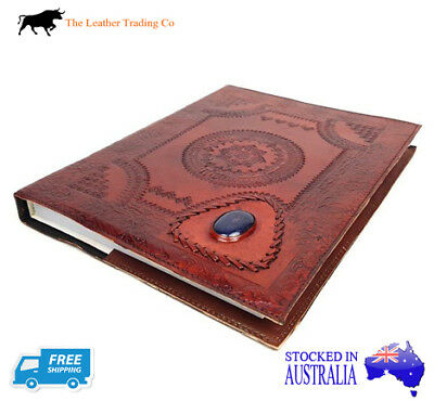 A4+ Leather Refillable Journal with Blue Stone Cover - Handmade Art Cotton Paper