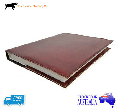 A4+ Leather Refillable Journal w Plain Brown Cover - Handmade Art Cotton Paper