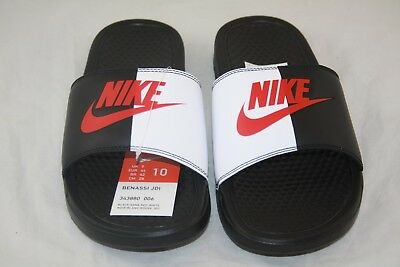 New Nike BENASSI JDI Men's Black/Game Red-White 343880-006 Slide Sandals