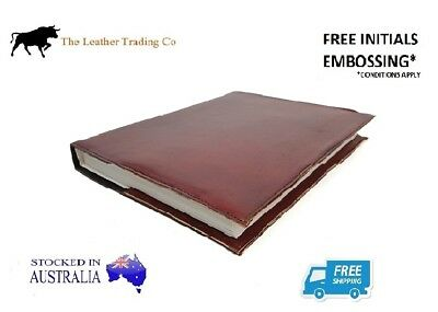 Large Leather Refillable Journal Brown Hard Cover - Handmade Art Cotton Paper