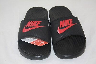 New Nike BENASSI JDI Men's Black/Challenge  Red 343880-060 Slide Sandals