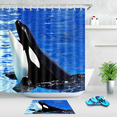 Funny Black White Whale Shower Curtain Set Bathroom Mat Waterproof Fabric Hooks