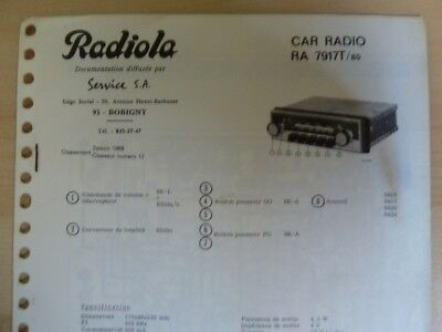 Doc. technique Autoradio Radiola RA 7917 T / 80