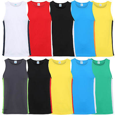 MENS COOL CONTRAST VEST, AWDis Sporty Fit 100% Polyester JC008 Breathable Top