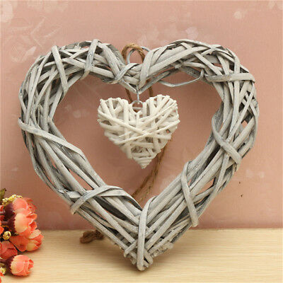 Vintage Wicker Love Heart Wreath Wall Hanging Wedding Birthday Party DIY Decor