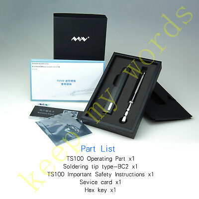 TS100 Mini Portable Digital LCD Programable Soldering Iron Kit PR-BC2 Tip Tool
