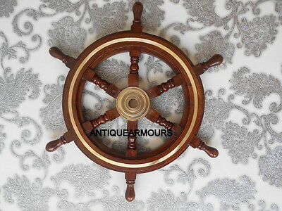 "18 "" Brass Rosewood Shipwheel Maritime Item Centre Home Decor Reproduction Item"