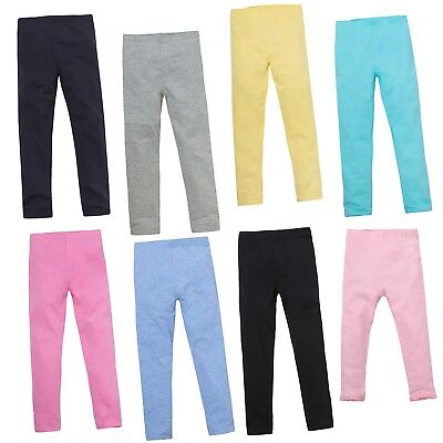 Girls Cotton Rich Leggings Soft Stretch Summer Trousers Kids Pants Jeggings Size