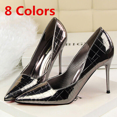 Women Pumps Classic Pointed Toe Stilettos Slip On High Heels Party Ladies Shoes