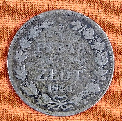 Antique Imperial Russian Russia 19 Century 1840 5 Zlot 3/4 Ruble Silver Coin
