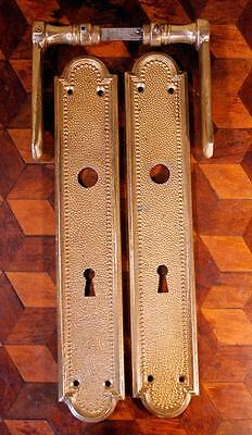 PAIR Vintage Italian Empire Brass Door Handles Backplates Keyhole Chateau Chic !