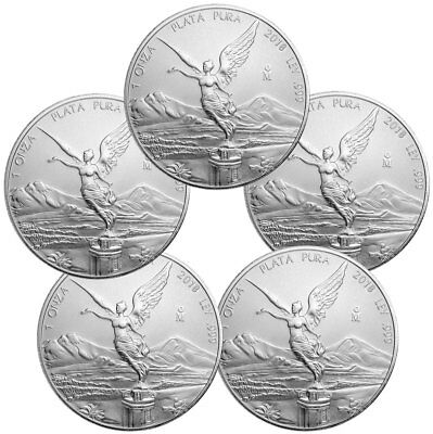 Lot of 5 - 2018-Mo Mexico 1 oz. Silver Libertad Coins GEM BU SKU53060