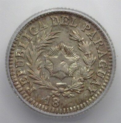PARAGUAY 18XX SILVER 10 CENTS ON ARGENTINA 10c KM#26 -PATTERN DIE- ICG MS65 RARE