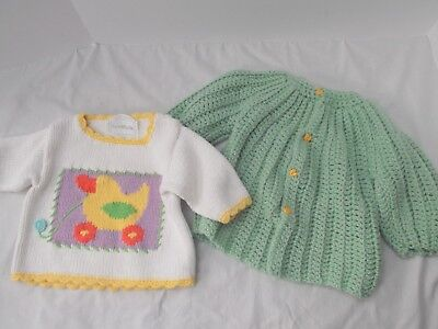 vtg lot of 2 newborn baby 3mo 6 mo grn duck hand knit cable sweater Art Walk NEW