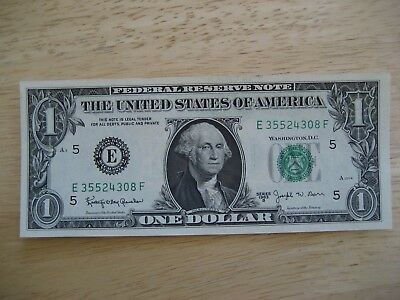 1963 B  $1 , 1 Dollar Us Federal Reserve Green Seal Note Unc