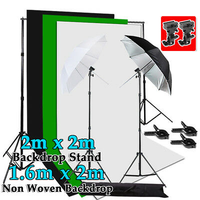 Studio Speedlight Flash Lighting Umbrella Light Stand Kit Photo 3 Backdrops Set