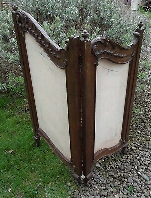 Beautiful Victorian Mahogany Small 2 Fold Screen, Fire Screen, Claw Feet, A/F