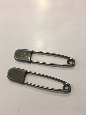 "2 Large Rare Style Antique Vintage 5"" Jumbo Giant Safety Pin Diaper Pins  #284"