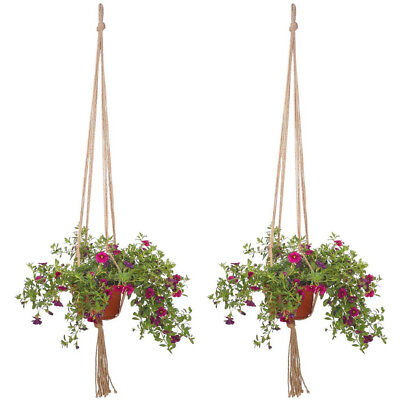 Vintage Macrame Plant Hanger Legs Rope Basket Flower Pot Garden Holder 2 X