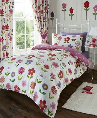Sunny Days Little Flowers Nursery Baby Girl Cot Bed Duvet Quilt Cover Set Pink