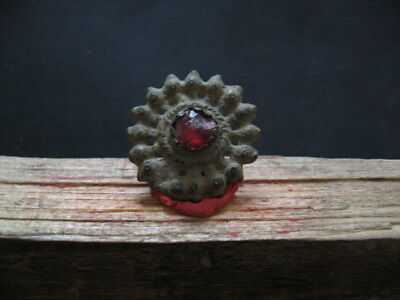 Openwork Sun With Red Glass Ancient Celtic Bronze Solar Talisman 300-100 B.c.