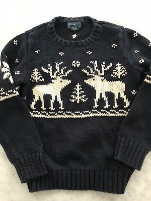 POLO RALPH LAUREN Child's Navy White Reindeer Holiday Knit Sweater Size Small 8