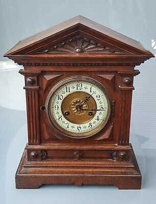 Antique wooden mantel clock J Ungham movement single chime working order
