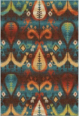 """Orian Rugs Bright Color Southwest Tribal Turk Blue Area Rug 5'3"""" x 7'6"""""""