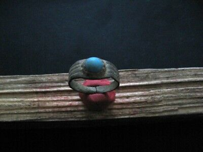 Ancient Celtic Bronze Finger Ring With Blue Glass Stone 200-50 B.c.