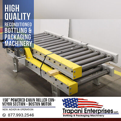 """*NEW* 150"""" Powered Chain Roller Conveyor Section, Boston 3/4HP 220/460"""