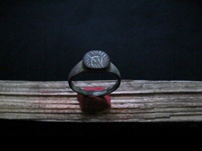 Rune Symbols Ancient Celtic Magic Engraved Bronze Finger Ring 300-100 B.c. 4