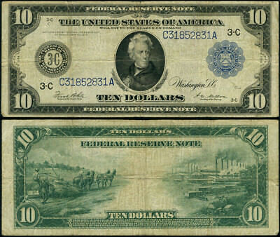 FR. 915 A $10 1914 Federal Reserve Note Philadelphia Fine+ 1st Year Federal